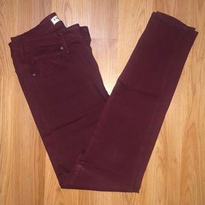 High waisted burgundy skinny jeans